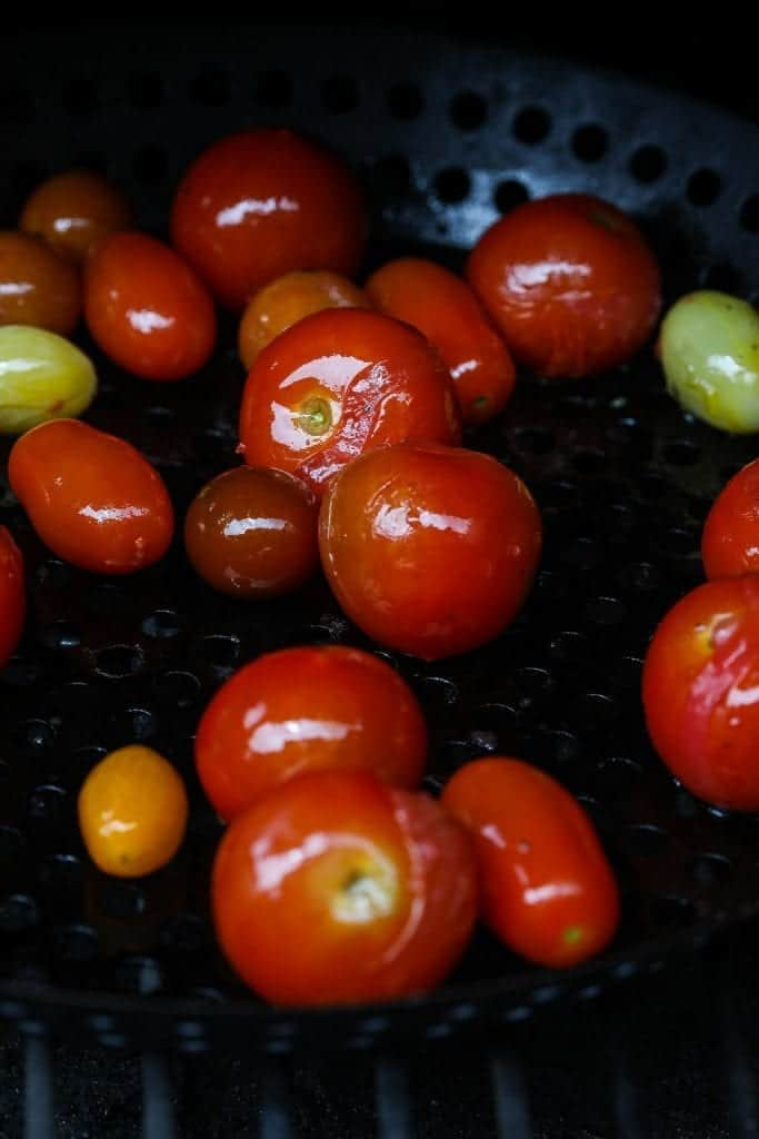 cherry tomatoes on the gril