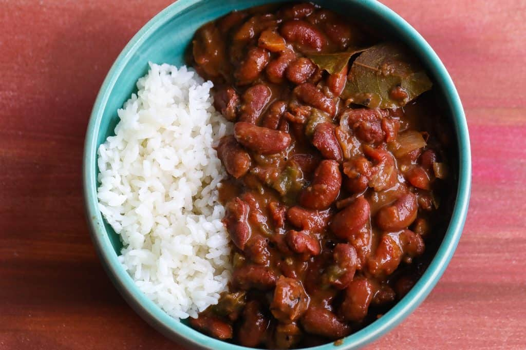 red beans and rice in blue bowl