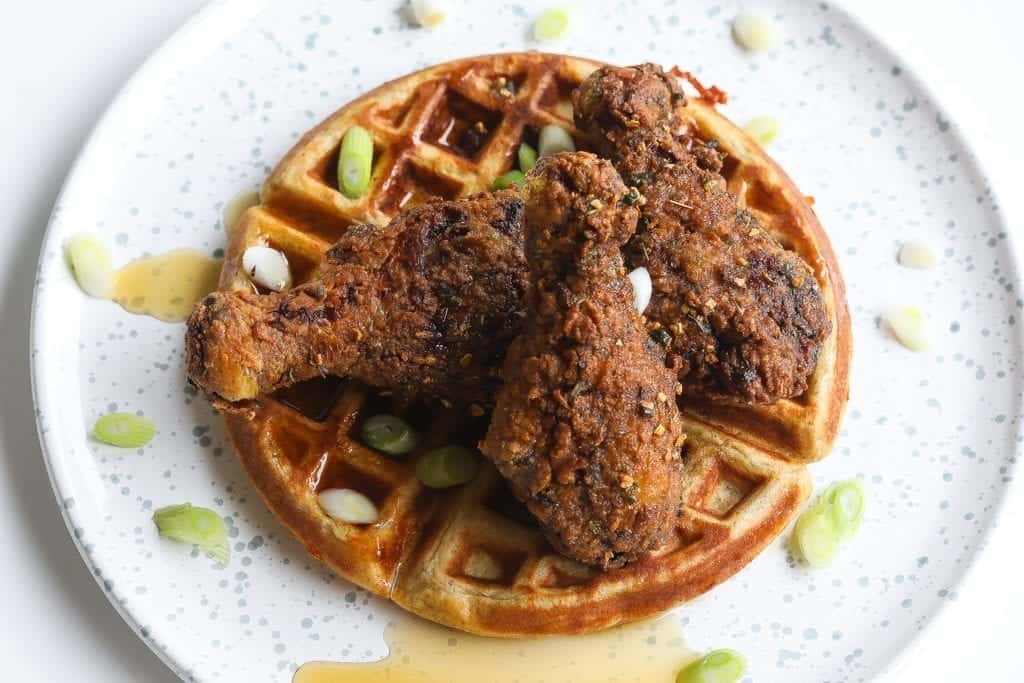 spicy southern fried jerk chicken with waffles