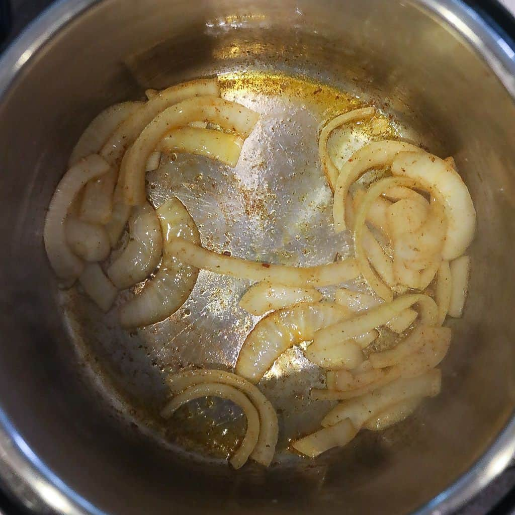 onions sauteing in instant pot