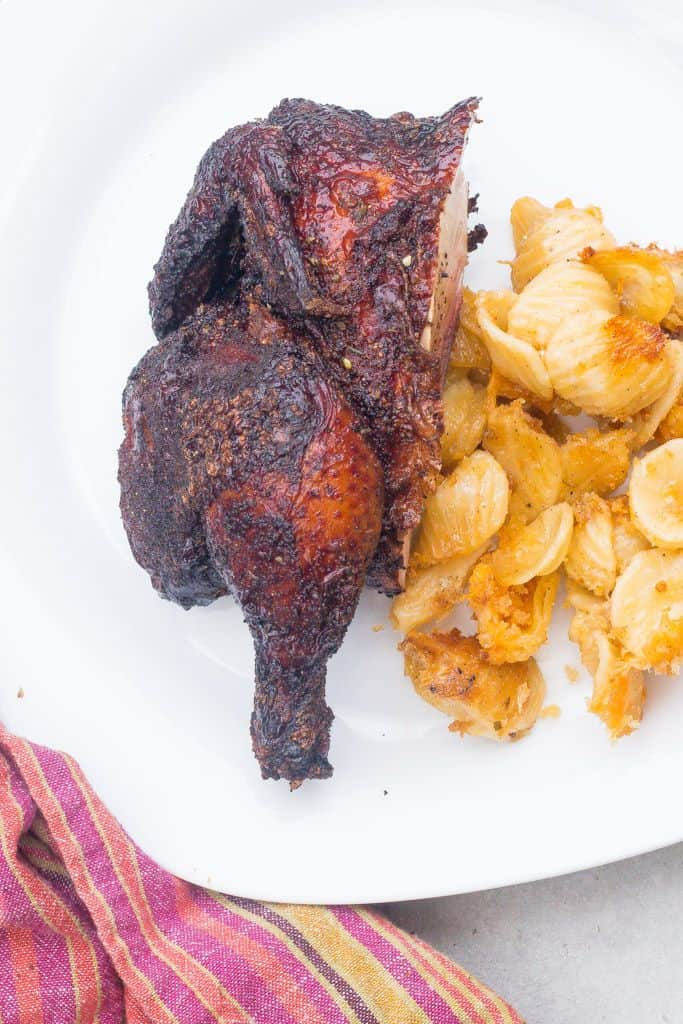smoked cornish hen half with mac and cheese
