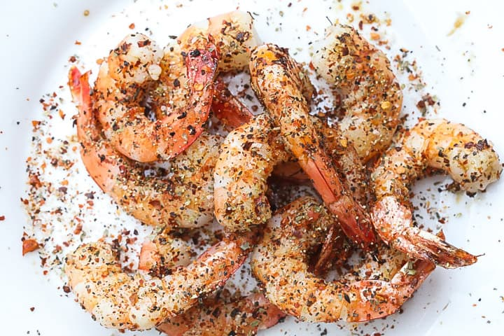grilled shrimp topped with spices