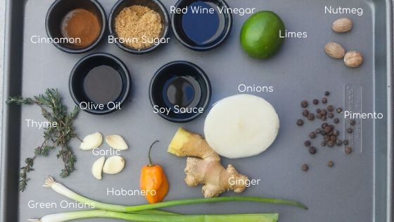 jerk marinade ingredients on tray