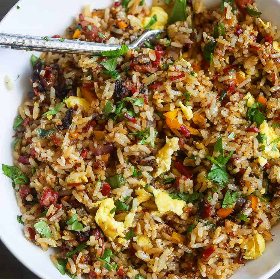 Brisket Fried Rice in a white bowl