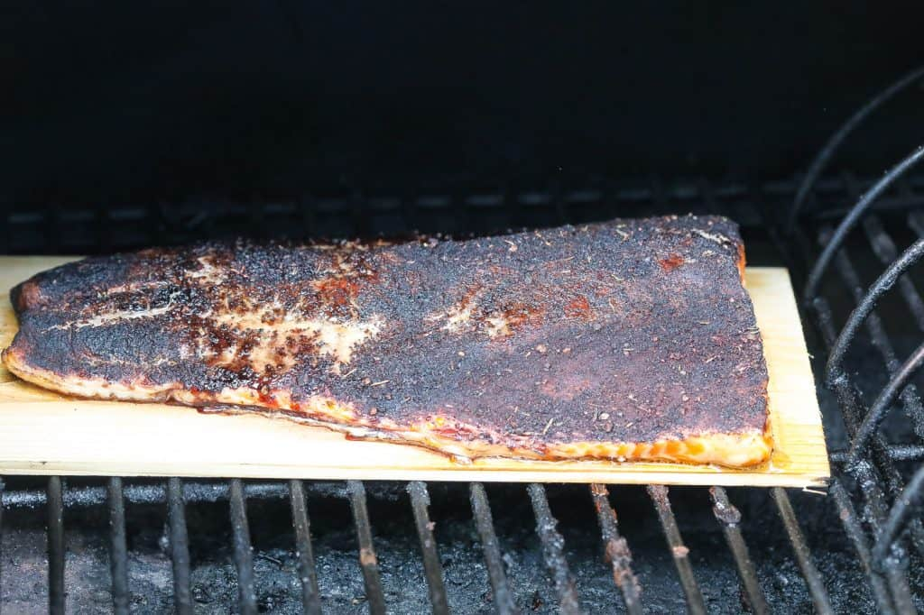 fish grilling in smoker