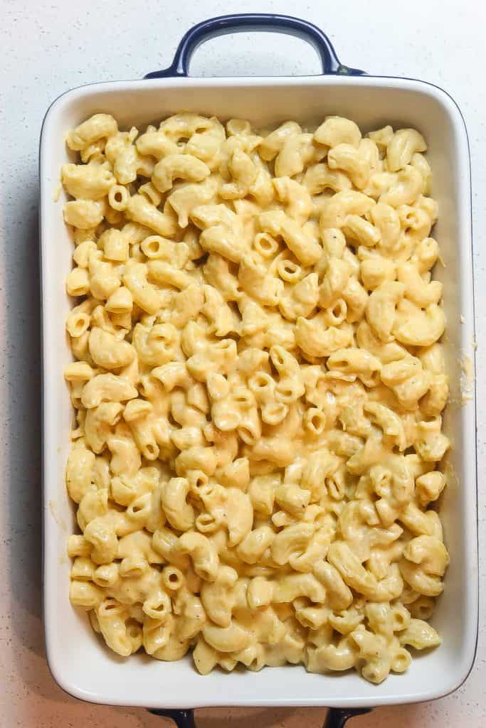 mac and cheese in rectangular pan