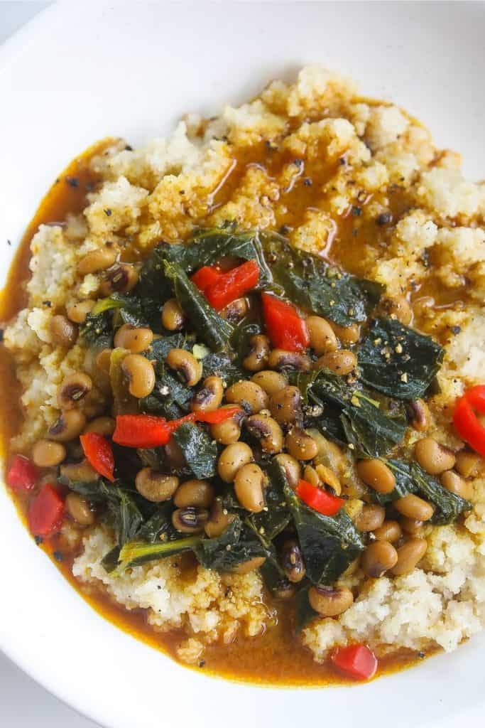 collard greens and blackeyed peas in a curry sauce