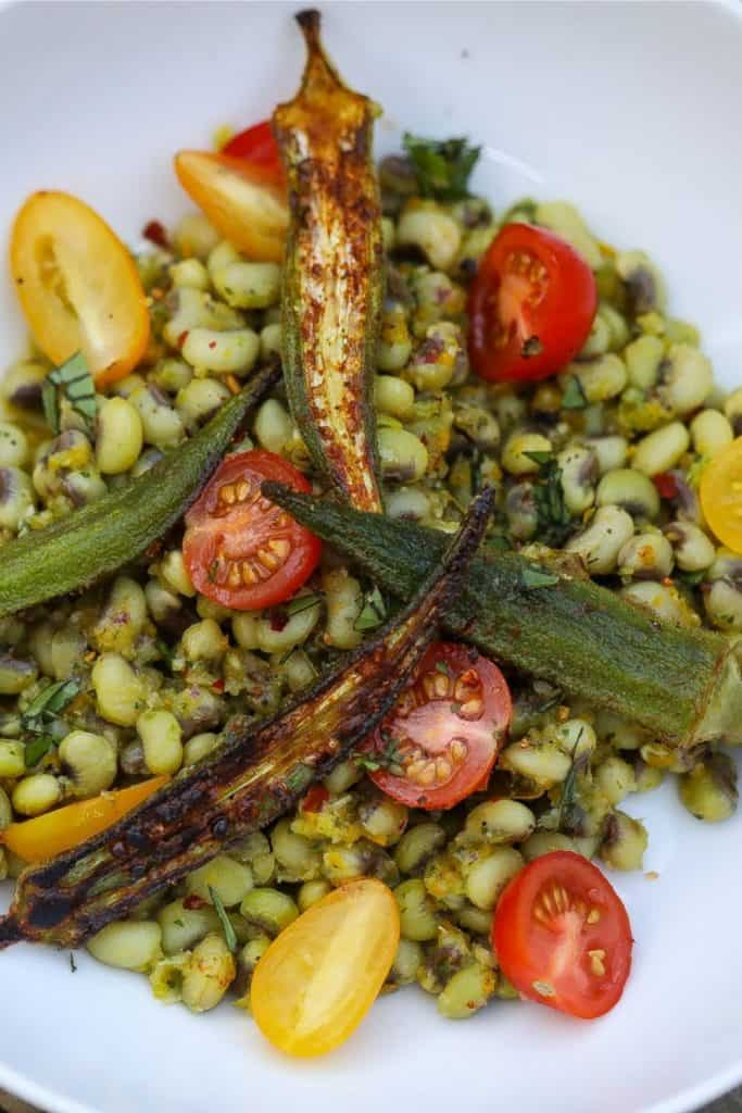 field peas with okra and tomatoes in a bowl