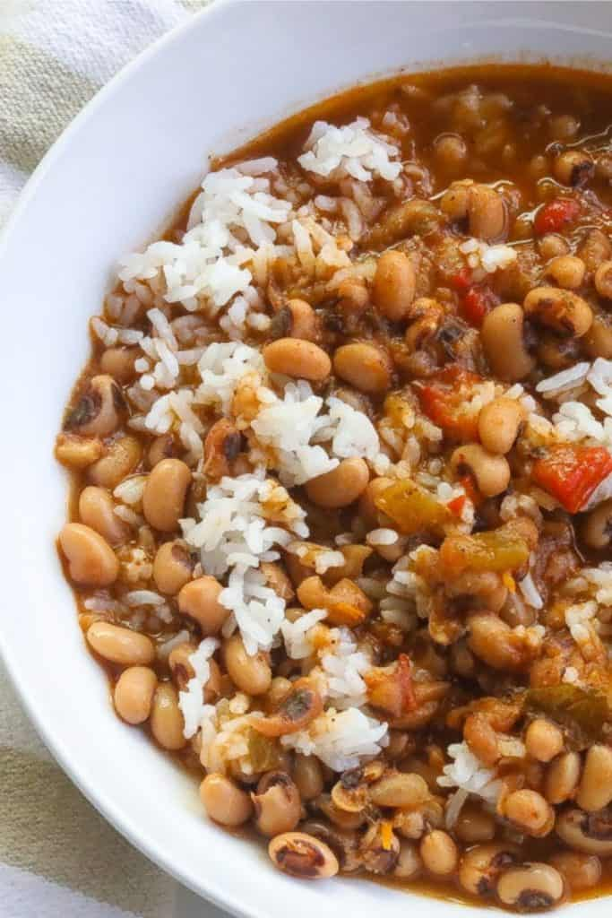 blackeyed peas and rice in a white bowl