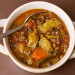 pigeon pea stew in a white bowl