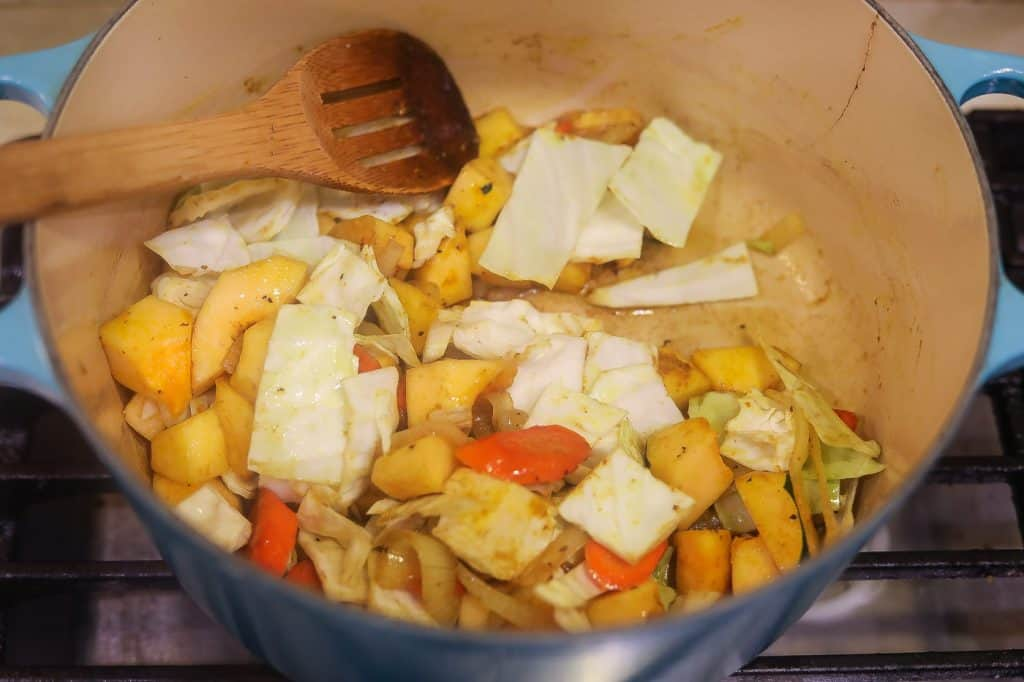 vegetables cooking in a pot