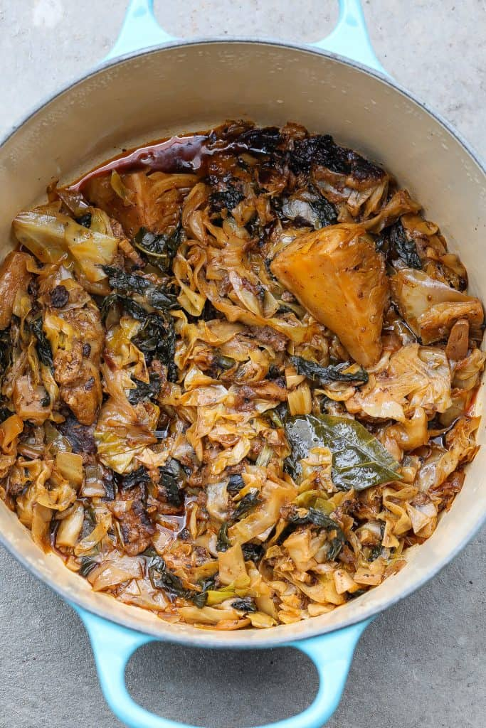 braised cabbage in a pot
